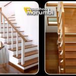 escada de madeira e revestimento de degrau