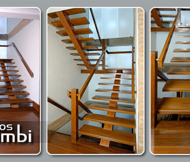 Escada em Madeira com Viga Central
