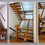 Escadas de madeira com viga central
